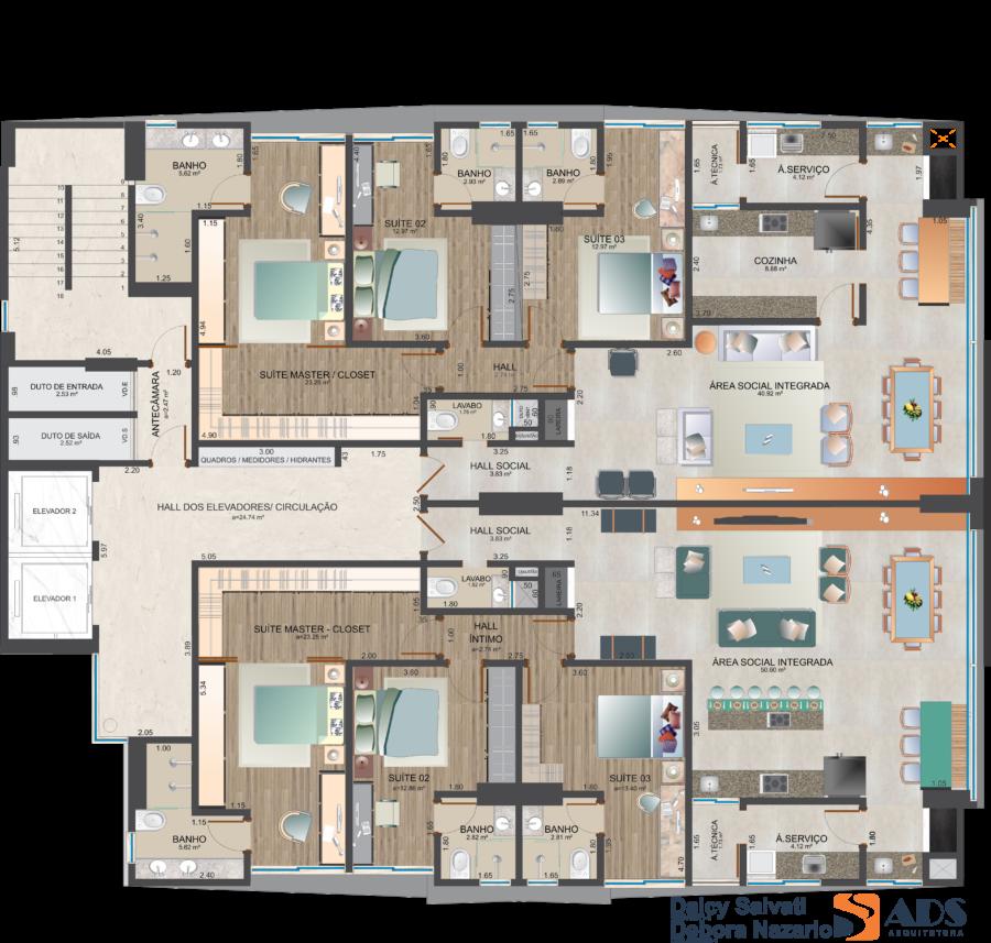 Apartamento 140 m² - 3 suítes