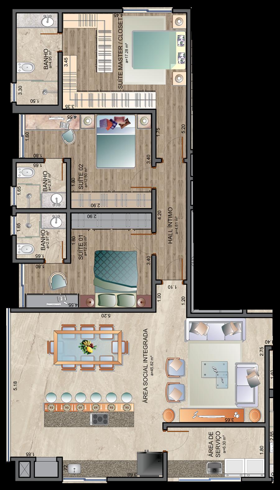 Apartamento 128 m² - 3 suítes